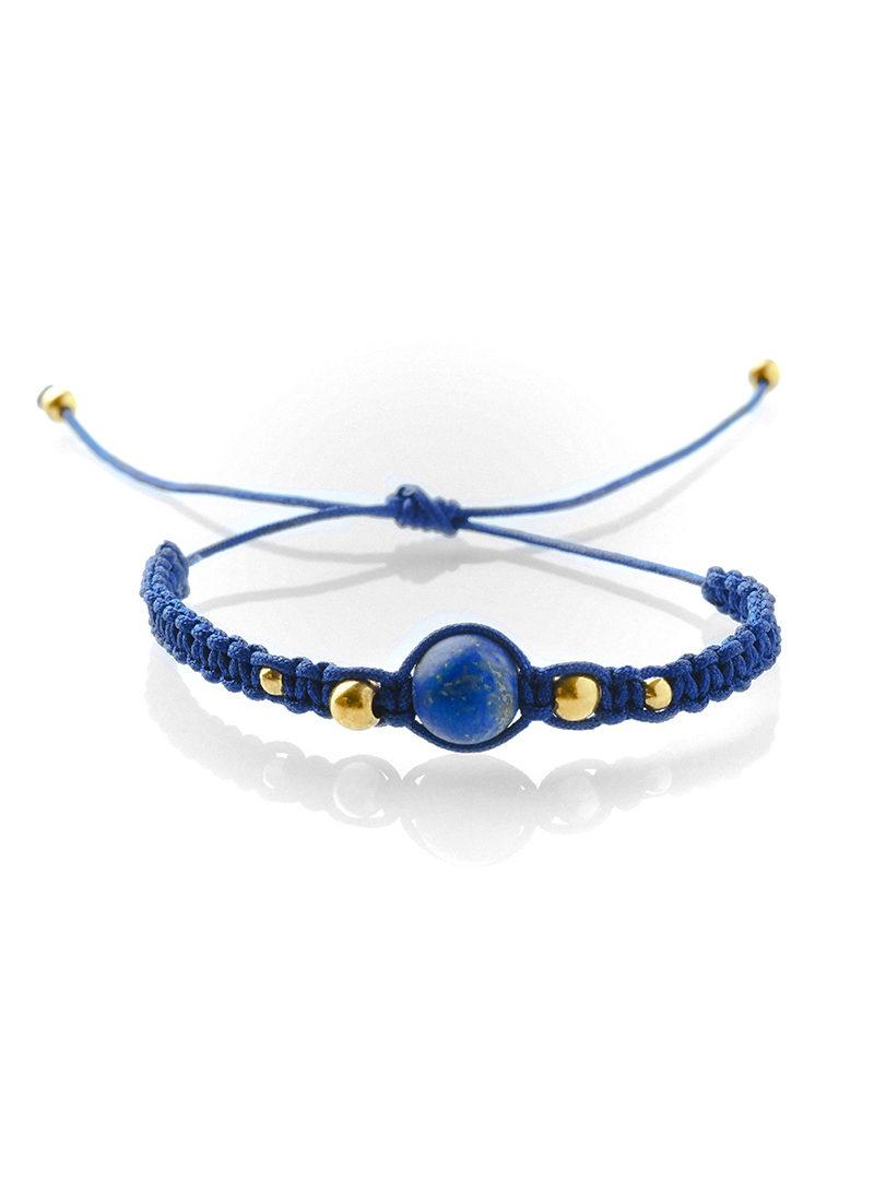 White Macrame bracelet with blue Lapis