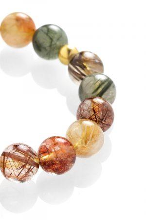 Colorful rutilated quartz bracelet