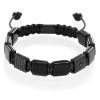 Black agate flatbead bracelet