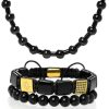 Triple black set of jewelry for men